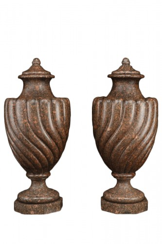 Vases in Egyptian red granite