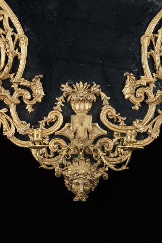 Pair of carved and gilded wooden mirrors  - Mirrors, Trumeau Style