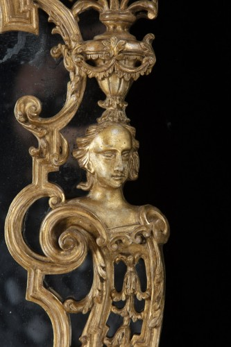 Mirrors, Trumeau  - Pair of carved and gilded wooden mirrors