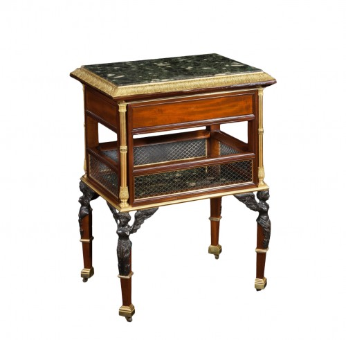 Table in mahogany wood and gilt bronze