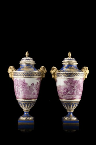 Pair of porcelaine vases blue - Porcelain & Faience Style