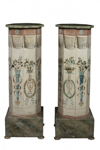 Pair of octagonal column