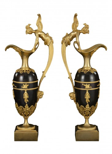 Pair gilt bronze ewers attr. Claude Galle