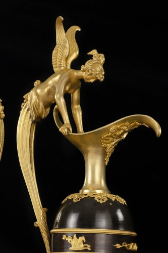 Pair gilt bronze ewers attr. Claude Galle - Decorative Objects Style Empire