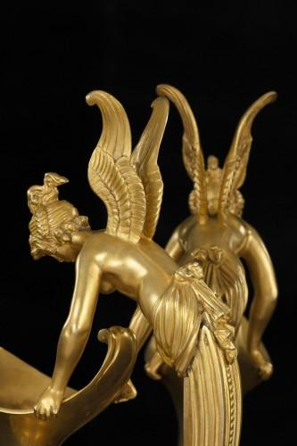 Pair gilt bronze ewers attr. Claude Galle -