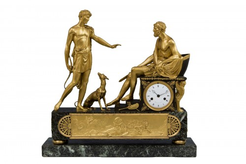 Hippolite and Theseus clock, dial signed Barrand á Paris