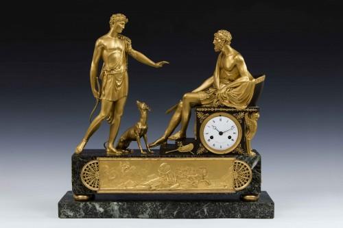 Hippolite and Theseus clock, dial signed Barrand á Paris - Horology Style Directoire