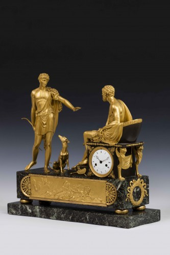 Horology  - Hippolite and Theseus clock, dial signed Barrand á Paris