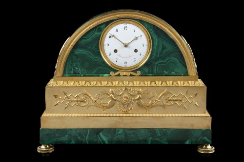 18th century - Pendule bronze te malachite