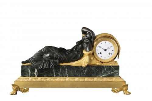 """""""ARIANNA"""" bronze clock signed Galle rue Vivienne"""