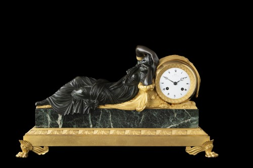 """""""ARIANNA"""" bronze clock signed Galle rue Vivienne - Horology Style Directoire"""