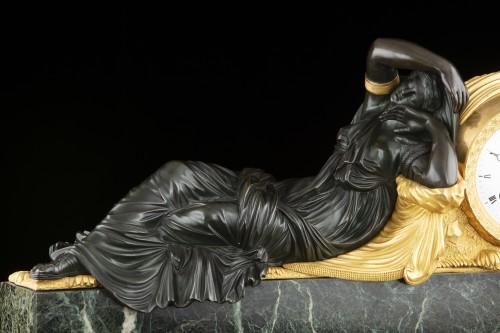 """""""ARIANNA"""" bronze clock signed Galle rue Vivienne -"""