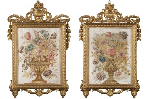 Pair of paintings on silk