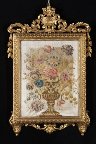 Pair of paintings on silk  - Decorative Objects Style Louis XVI