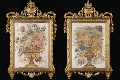 Decorative Objects  - Pair of paintings on silk