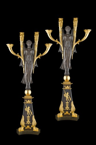 Pair of large candelabra  - Lighting Style Empire
