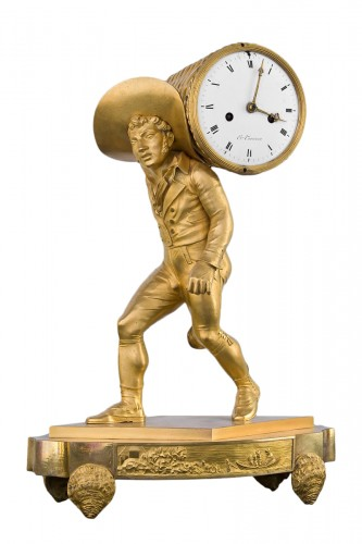 Oyster seller - Empire clock in gilt bronze