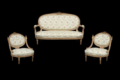 Louis XVI - 1 sofa and 2 marquise