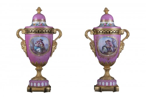 Pair porcelain and bronze vases