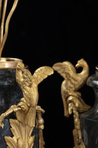Louis XVI - Pair vases in Urals jasper stone and bronzes