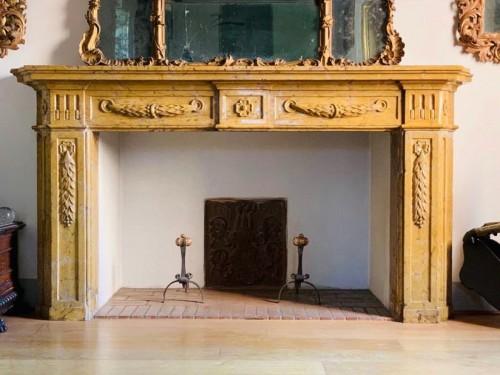 - Fireplace in yellow Verona marble