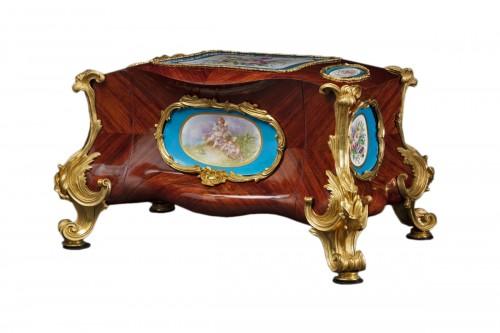 Rosewood box/desk signed BARRE SÈVRES