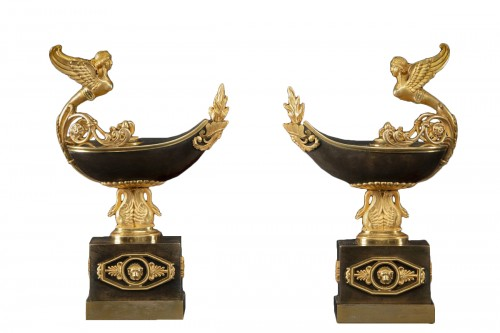Pair of cassolettes in the shape of lamps, late 18th century