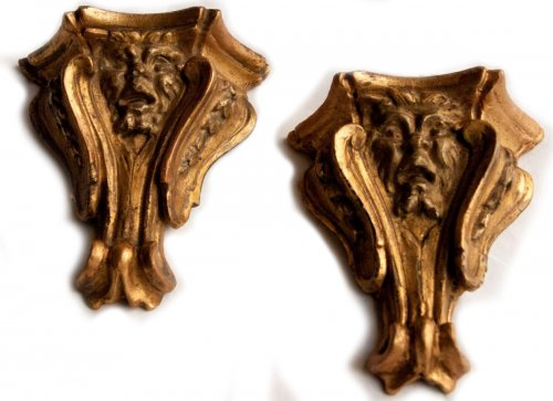 Wall brackets with grotesque heads, italy, 17 th c.