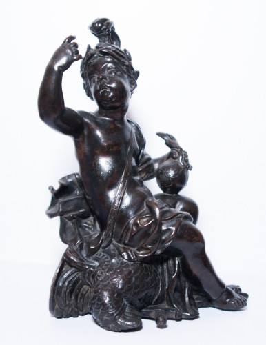 Antiquités - Pair of allegorical bronze figures, French Regence period