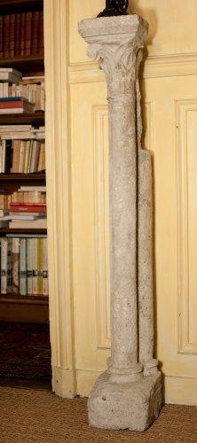 16th century - 13 th century pair of gothic columns