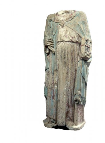 Limestone statue of st peter, 1300