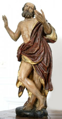 St Jerome painted alabaster figure, circa 1600