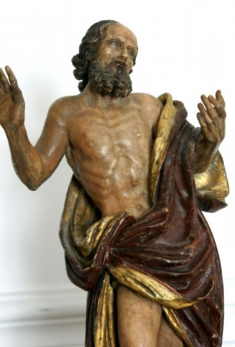 St Jerome painted alabaster figure, circa 1600 - Sculpture Style Louis XIII
