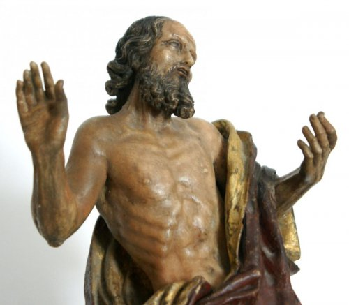Sculpture  - St Jerome painted alabaster figure, circa 1600