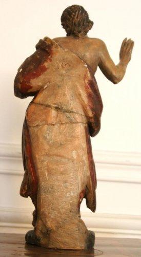 St Jerome painted alabaster figure, circa 1600 -