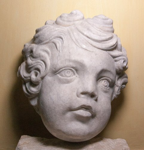 Marble head of a putto, circa 1700