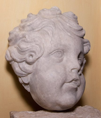 Marble head of a putto, circa 1700 -