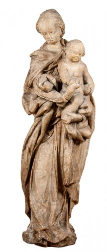 Alabaster Virgin And Child Of The Renaissance Circa 1550