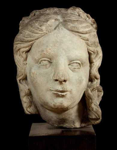 Head Of A Woman Saint Or Virtue, 16 Th C., Champagne School