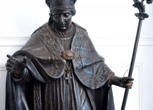 Sculpture  - Large Oak Statue Of Holy Bishop, Early Eighteenth Century