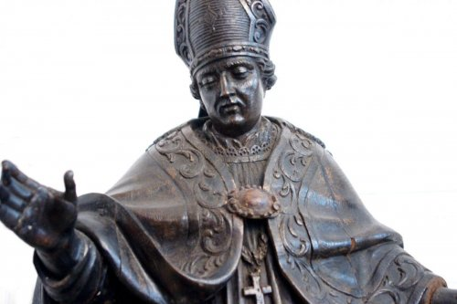 Large Oak Statue Of Holy Bishop, Early Eighteenth Century -