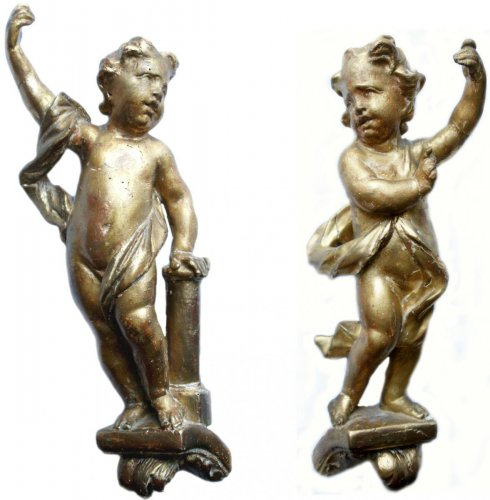 Pair of Baroque Angels in Gilt Wood, early XVIII th century