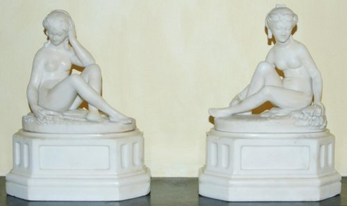 Pair of marble allegories, early 19th c.