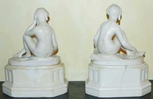 Pair of marble allegories, early 19th c. - Sculpture Style Restauration - Charles X