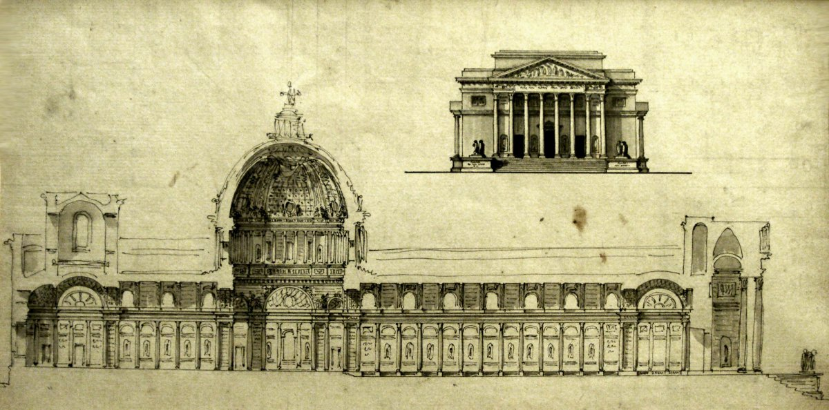 Architecture Drawing 1770 1780 Project For A Cathedral