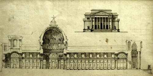 Architecture drawing 1770-1780 - Project for a cathedral or abbey church