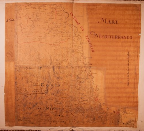 Rare military map of the Riviera - Côte d'Azur circa 1740-1750 - Paintings & Drawings Style Louis XV