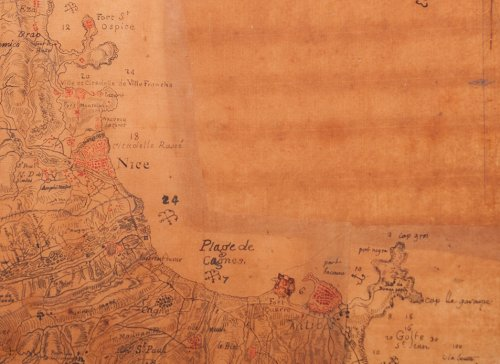 Rare military map of the Riviera - Côte d'Azur circa 1740-1750 -