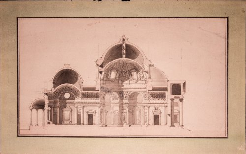 Dome church project, French school circa 1765-1775 - Paintings & Drawings Style Transition