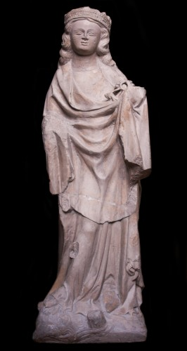 Limestone statue of St. Catherine, early 14th century  - Sculpture Style Middle age